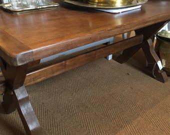 Vintage French oak trestle dining table