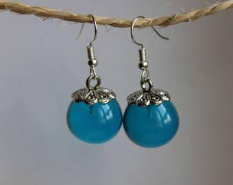 Earrings round 1.8 cm turquoise blue resin earrings