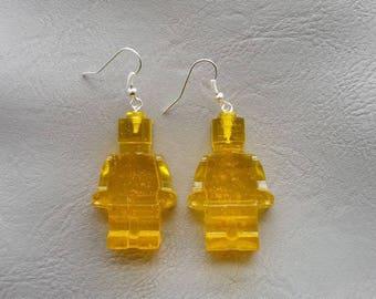 Yellow plastic toy snowman earrings earrings