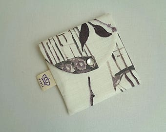 Small cover (12x12cm) with all printed linen, cotton lining