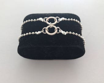 Beaded double chain silver plated