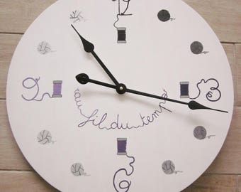 Wooden sewing themed clock