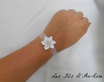 White satin with white satin flower bracelet
