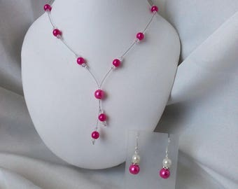 """""""FANTASIA"""" set necklace & Earrings with fuchsia and swarovsk beads"""
