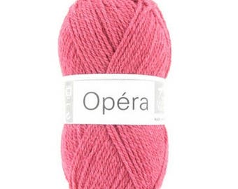 wool knitting OPERA Ruby color No. 055 rosine white horse