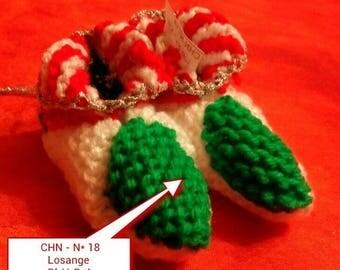 Christmas decoration idea - Christmas # 18 booties Christmas hand knitted