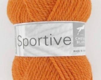Sport yarn orange No. 271 white horse