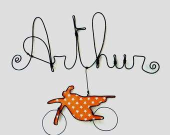 """Name personalized wire """"Bike"""" wall decor for child's room"""