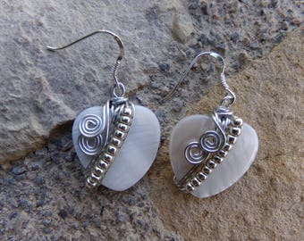 """Natural Pearlescent earrings, ceremony, wedding, Silver Aluminum wire, """"Moon heart"""" Sterling Silver hooks"""