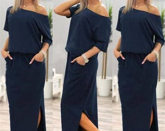 UK New Summer Womens Dress Casual Loose Split Long Maxi Beach Long Dresses 6-16