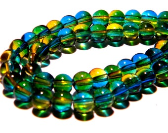 50 glass-beads 6 mm - translucent 2 tone blue and yellow PG142 1