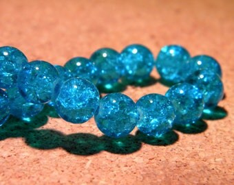 glass Crackle 8 mm - dark turquoise - PF62 50 beads