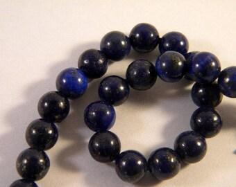 5 beads lapis lazuli blue 8mm - round LL16