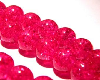 20 fuchsia glass beads Crackle 10 mm-dark - PG145