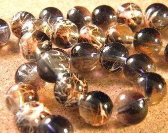 10 pearls glass translucent technology - 12 mm-black / light salmon PE33