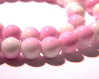 100-4 mm - 2 colors-pale lilac glass beads and white-glass - G57-9