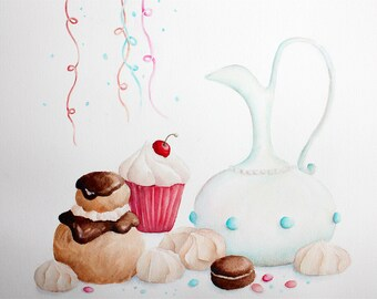 """Exemplary unique and original watercolor illustration """"cakes, macaroons, puffs, meringue"""" painted in Provence, France, watecolor"""