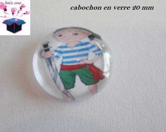 1 cabochon clear 20mm theme pirate