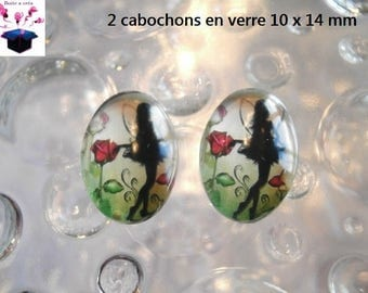 2 cabochons glass 10 x 14 mm for loop or ring fairy