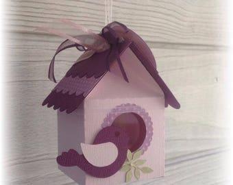 Box dragees scrapbooking birdhouse bird plum and lilac