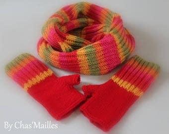 Choker double colored Choker and matching mittens