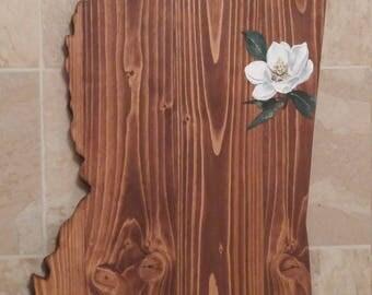 Mississippi State Wooden Magnolia Plaque