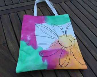 Totebag white and fuchsia hand painted canvas