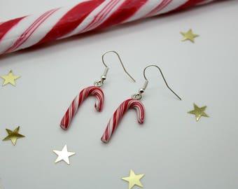 Sugarcane red Christmas earrings