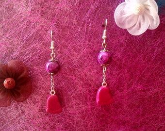 Earrings small foot fuchsia Fimo
