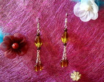 dangle earrings amber bead