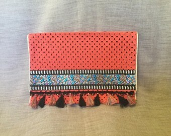 Ethnic clutch, black and orange Bohemian clutch, clutch bag