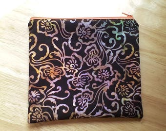 Zippered Makeup Bag, Cosmetic Pouch, Toiletries Purse, Pencil Case, in Black Batik Fabric, Fully Lined
