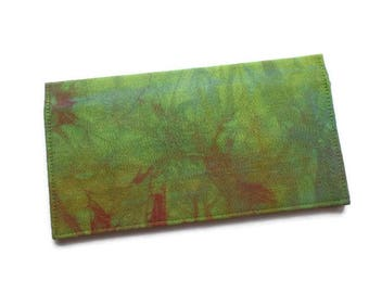 "Hand Dyed Fabric Checkbook Cover 6.5""x3.5"", Coupons Wallet, Cash Holder, Green and Red"