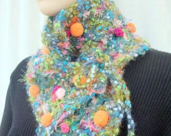 scarf crochet cowl handmade pink buttons