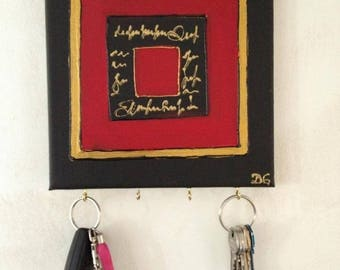 Wall key hook key style contemporary painting