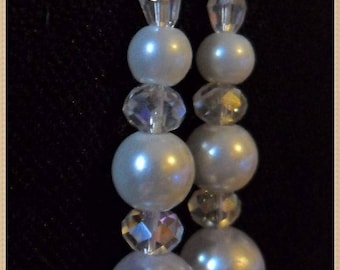 White Pearl Earrings elegant beaded transparent and pendulums