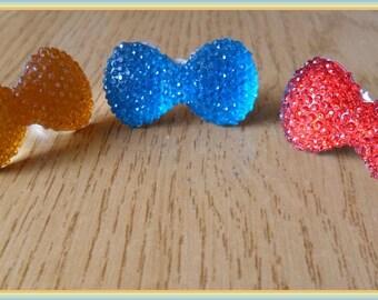 Orange or blue bow bright finger ring girls