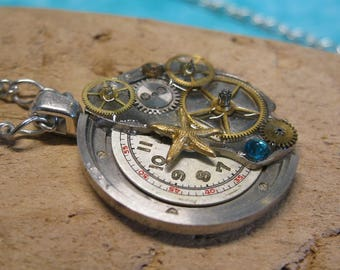 Steampunk Timepiece Pendant with Vintage Watch Dial, Gears and Sea Star Charm (108)