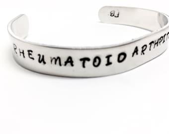Rheumatoid Arthritis Warrior Bracelet, RA Awareness , Spoonie, RA Warrior, Hand-stamped