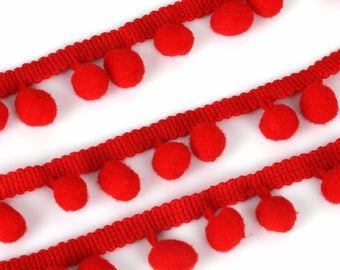 1 m of lace, Ribbon tassels Red 10mm