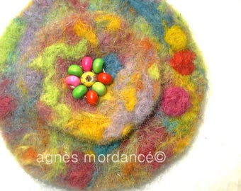 "Round brooch felted wool ""under the tree"" 8cm - wool, wooden beads - unique"