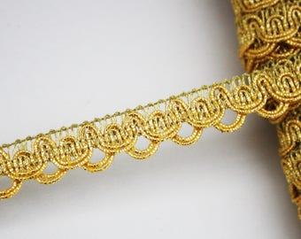 Gold braid passementerie trim, 1 m Gold Ribbon 15 mm