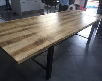 Drawer industrial dining table and extension in solid pine
