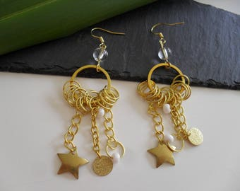 Earrings with pearls and gold charms
