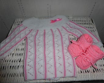 Life jacket baby + booties - pink and white