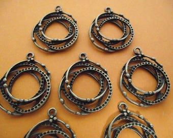 Set of 10 charms, antique bronze color.  2.8 cm x 2.4 cm.