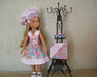 clothes for dolls of 32/33 cm (dress, beret, bag) printed floral, blue and pink, liberty style