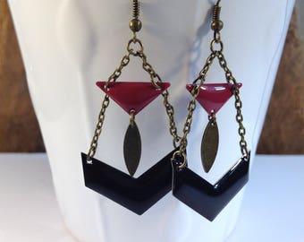 Earrings geometric purple and black