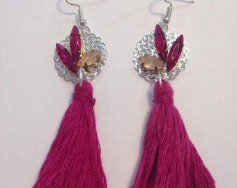 Chic and purple rhinestone earrings