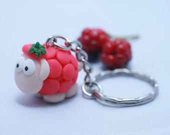 #1-Framboise - sheep Keychain polymer clay